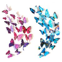 Pegatinas de pared de la mariposa Decoración de la pared Murales Imán 3D Butterflies DIY Tarquías de arte Inicio Decoración de las habitaciones 12pcs / lot PPD3735