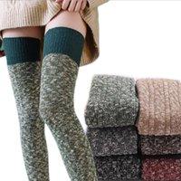 Kadın Boot Topper Sıska Uzun Diz Çorap Kış Sıcak Seksi Örme Çorap Kalın Uzun Boot Stocking Spor Tasarımcısı Pamuk Çorap LSK1834