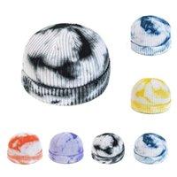 caliente hicieron punto los sombreros teñido lazo Sombrero de ganchillo almohadillas redonda de la manera Muff cráneo Cap Gradiente caliente los sombreros del estilo del color 6 Gorros T2C5281-1