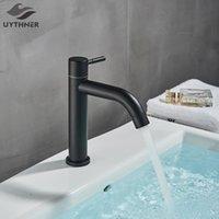 Смесители раковины ванной комнаты Matte Matte Black Basin Canucet Ванна Латунь Одиночные холодные водяные краны ручки отверстие умывальник