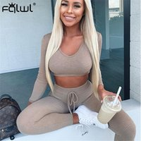 FQLWL Two Piece Set Women Club Outfits Ribbed Knitted Suit Long Sleeve Crop Top and Skinny Pants Female Tracksuits Women Set 201007