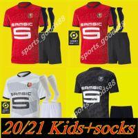 Kids Kits + Носки 20 21 Stade Rennais Soccer Jersey Home 2020 Rennes Maillot de Foot Sarr Niang Bourigeaud Andre Hunou Футбольные наборы