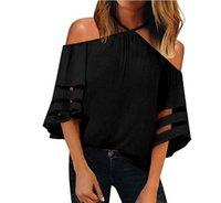 T-shirt das mulheres de verão tops Tees preto vermelho manga curta fluoroscopia senhoras desgaste chiffon gallus size s-xxl
