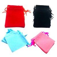 50шт мягкий бархат Drawstring сумки ювелирные изделия Свадебные подарки мешочков Глянцевая Цветные красный / розовый / черный / синий