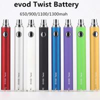 510 Batterie de fil de torsion électronique cigarette Evod 3.3-4.8V de tension variable 650/900 / 1100 / 1300mA de batterie Evod