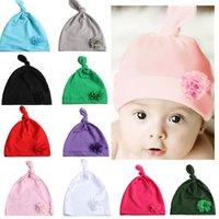 عقدة المولود الجديد زهرة هات اكسسوارات الربيع الصيف القطن مزيج مستلزمات الطفل قبعة لطيف مع زهرة القبعات الاطفال FFA4505