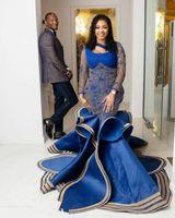 ASO EBI 2020 Arabisch Royal Blue Spitze Perlen Abendkleider Meerjungfrau Ballkleider Sexy Formale Party Zweiter Rezeption Kleider ZJ925