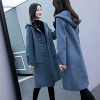 Lanas de las mujeres mezclas de invierno femenino abrigo largo negro con capucha con capucha, elegante, desgaste de la oficina de las mujeres, sombra de mujer, moda, de manera coreana, de manera externa.