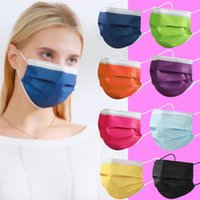 12 Colors Disposable Mask Black Pink 3 Layers Breathable Mas...
