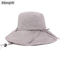 Широкие Breim Hats xdanqinx летние дамы Sunhat складные женские ведро шляпа корейский стиль пляж для женщин ветровая веревка фиксированная мода женщина