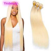 Brasileiro Humano cabelo 3 pacotes 32-42inch cor loira onda corporal reto três pedaços tingidos 613 # 40inchyirubeauty 100% cabelo virgem humana remy