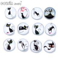 12 pçs / lote cores misturadas linda arte gato 18mm snap button jóias facetada vidro encaixe encaixe pulseira botão jóias kz01791
