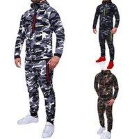 NIBESSER 2021 Männer Mode Tarnung Jacken + Hosen Set Männliche Trainingsanzug Outdoors Anzug Herren Turnhallen Set Casual Sportswear