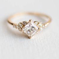 Nuovo set quadrato diamante zircone anello 14K oro anello di coda di fidanzamento per ladies fidanzamento regalo preferito gioielli moda regalo
