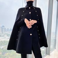 Siyah Pelerin Yün Ceket Kadın Sonbahar Kış 2020 Yeni Orta Uzunlukta Gevşek Şal Vintage Pelerin Yün Ceket LJ201106