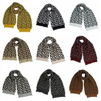 Women Knitted Scarf Leopard Printing Wool Crochet Scarves Winter Outdoor Warm Windproof Fashion Casual Soft Scarves DDA717