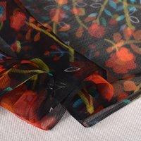 [BYSIFA] 여성 레드 블랙 실크 스카프 목도리 새로운 꽃 디자인 봄 가을 긴 스카프 170 * 105cm 우아한 얇은 목 스카프 201006