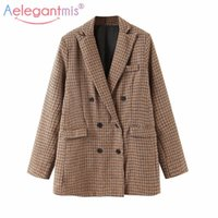 Aelegantmis Casual Oversized Office Lady Houndstooth Blazer ...