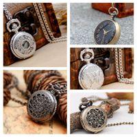 5 Modelo de 27 mm de acero blanco Flor Flip Pocket Reloj Collar Retro Coreano Edición Suéter Cadena Estudiante Colgando Reloj Moda Reloj de moda