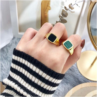 Fashion Rings Square Big Width Signet Rings Titanium Steel Man Finger Gold Men Ring Jewelry Fashion Personality Jewelry For Women With Box
