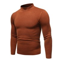 2020 New Men's Sexy Slim Fit Turtleneck Sweater Pullover Male Autumn Solid Color Long Sleeve High Neck Knitted Sweater Pullovers