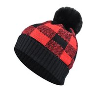 Women Hat Pompom Winter Plaid Knit Cuffed Mother Child Beanie Skiing Warm Outdoor Accessory For Girl Teenagers