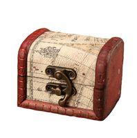 Scatola di gioielli vintage mini legno mappa del mondo modello metallo contenitore contenitore organizzatore custodia a mano in legno piccola scatole YL170