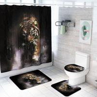 4 pezzi / set Accessori per il bagno Animali Wolf, Tiger, Peacock, Leone Doccia Tenda Doccia Tappeto da bagno Set Set di copertura per toilette Tappetino da bagno Set Tendins1