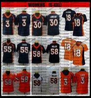 Bayan Bayanlar 58 Von Miller 30 Phillip Lindsay Bradley Chubb Drew Kilit 18 Peyton Manning Futbol Formaları Gömlek Nakış Mavi BB6