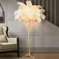 현대 타조 깃털 거실 LED 플로어 램프 거실 침실 현대적인 인테리어 조명 장식 플로어 라이트 상임 램프