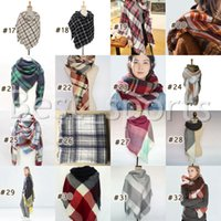 38 Colors Women Plaid Scarves Grid Tassel Shawl 140*140cm Winter Neckerchief Lattice Square Blanket Scarf CYZ2853