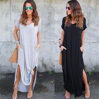 Tataria Damen Casual Lose Tasche Lange Kleid Frauen Kurzarm Lange Kleider Frauen T-shirt Kleid Feste Farbe Vintage V-Ausschnitt1