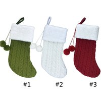 3 Renk Örme Noel Çorap Katı Renk Örme Noel Çorap Çocuk Noel Hediye Şeker Çanta Noel Dekorasyon Çorap HWE8412