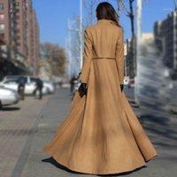 Kış Kadın Yün Maxi Uzun Palto Streetwear Splice Fermuar Ofis Bayanlar Giyim Pist Yün Karışımları Ceket Rüzgarlık1