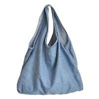 Denim gilet de forme réutilisable fourre-tout sac à main femelle 2021 filles shopping écologie quotidien tissu adolescent tissu doux occasionnel ouvert shopper sac ujowd