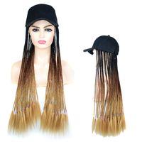 Бейсболка с волосами Длинные Ombre Плетеный Box плетенки Cap парик 26inch Синтетические HairExtensions Бейсболка с Шиньон Для женщин