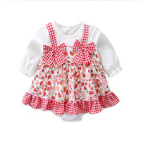 2021 New Baby Spring Bodysuit Plaid Print Girls Princess Inf...
