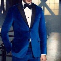 Costumes Hommes Blazers 2 pièces Velvet Casual Hommes pour mariage Slim Fit Groom Tuxedo Royal Blue Mask Costume Veste avec pantalon 20211