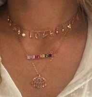 925 스털링 실버 연인 목걸이 럭키 기호 드롭 매력 Rainbow L o v E 편지 매력 개인화 된 발렌타인 선물