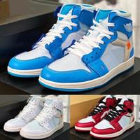 높은 og 1s 남성 농구 신발 공동 디자인 UNC 시카고 노스 캐롤라이나 Chaussures 레드 블루 화이트 여성 스포츠 스니커즈 야외 트레이너