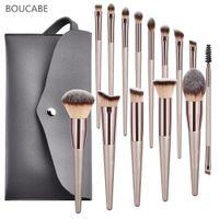 4-14pcs spazzole di trucco di fondazione Powder Blush ombretto Concealer Lip Eye Make Up Pennello con la borsa di cosmetici Beauty Tools 201007