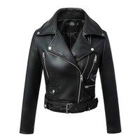 MANLEY ARTY Femmes Automne Hiver Black Faux Cuir Vestes Zipper Basique Basic Collier Collier Moteur Veste avec courroie 201223