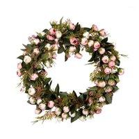 Guirlande de fleurs de Noël Rose Guirlande avec élégante meilleure pour la porte de la maison et la décoration de fenêtre de la fenêtre Decoration de mariage1