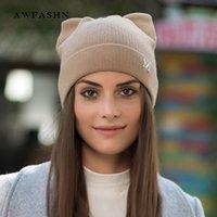 2020 nova marca moda senhora gato orelhas knit beanies chapéu inverno mulher chapéu de lã alta qualidade macia tampa de algodão cadigos lindos lj201020