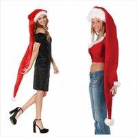 Lungo Cappello di Natale per adulti bambini peluche Big Babbo Natale Cap Capodanno Natale Decorazione regalo di natale Plus Size Partito Cappelli LJJP698