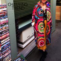 여성 코트 꽃 인쇄 긴 소매 겨울 자켓 여성 모직 코트 빈티지 캐주얼 세련된 에스닉 스타일 여성 코트 200,930