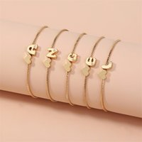 Fashion 26 Letras Iniciais Pulseiras Para Mulheres Gold Love Coração Cristal Alfabeto Chapéus Chains Correntes Bangle Ajustável Jóias Presente 284 G2
