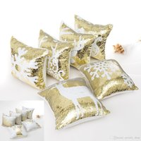Gold Double Sequin Pillow Case cover Christmas Square Pillow...