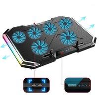 """Laptop-Kühlkörper-Stand-6-Fans, 12 """"-18"""" Notebook-Kühler 2 USB-Geschwindigkeits-Berührungssteuerung Ruhig, RGB-LED-Licht, effizientes Kühlen1"""