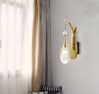 Luz de moda Luz de lujo Lámparas de pared de cristal de la personalidad creativa Sala de estar de la sala de la sala de la sala de la sala de la pared Lámpara de vestíbulo de entrada del hotel